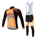cheap Dog Clothes-Long Sleeve Cycling Jersey with Bib Tights - Black / Orange Bike Clothing Suit, Quick Dry Polyester, Spandex, Silicon / Lycra