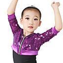 billige Dansetøj til børn-Toppe Dame Ydeevne Pailletter Paillette 3/4-ærmer Høj / Heppekorskostumer / Moderne Dans / Opvisning / Jazz