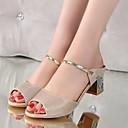 olcso Női magassarkú cipők-Női PU Nyár Kényelmes Szandálok Arany / Ezüst
