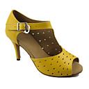 baratos Shall We® Sapatos de Dança-Mulheres Sapatos de Dança Couro Sapatos de Dança Latina Sandália Salto Agulha Personalizável Amarelo / Espetáculo