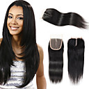 cheap Closure & Frontal-Febay Brazilian Hair 4x4 Closure Straight Free Part / Middle Part / 3 Part Swiss Lace Remy Human Hair Women's Daily