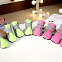 cheap Dog Clothes-Dog Boots / Shoes Casual/Daily Cosplay Keep Warm Snow Boots Sports Solid Green Pink For Pets