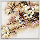 cheap Wall Stickers-Oil Painting Hand Painted - Floral / Botanical Abstract Canvas