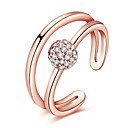 cheap Wedding Flowers-Women's Crystal / AAA Cubic Zirconia Crossover Ring - Rose Gold, Zircon, Copper Friends Statement, Personalized, Luxury Adjustable Silver / Rose Gold For Christmas / Christmas Gifts / Wedding / Alloy