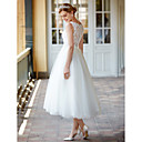 cheap Wedding Garters-Princess Bateau Neck Tea Length Lace Over Tulle Made-To-Measure Wedding Dresses with Buttons / Sashes / Ribbons by LAN TING BRIDE® / Little White Dress / See-Through / Beautiful Back
