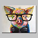 זול ציורי חיות-ציור שמן צבוע-Hang מצויר ביד - חיות מופשט (אבסטרקטי) מודרני בַּד