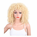 cheap Human Hair Wigs-Synthetic Wig Kinky Curly Blonde Synthetic Hair African American Wig Blonde Wig Women's Medium Length Capless