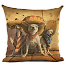 baratos Almofadas de Decoração-1 pçs Linho Fronha, Cachorro Moderno / Contemporâneo