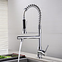 cheap Kitchen Faucets-Kitchen faucet Chrome Pull-out / ­Pull-down Deck Mounted Modern / Contemporary / Brass