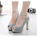 preiswerte Damen Heels-Damen Leder / PU Frühling / Sommer Komfort / Pumps High Heels Silber / Purpur / EU37