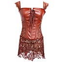 voordelige Lingerie-Dames Veters Korsetjurk - Effen Medium Bruin Rood