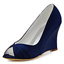 cheap Women's Boots-Women's Shoes Stretch Satin Spring / Summer Basic Pump Wedding Shoes Wedge Heel Peep Toe Ruffles Blue / Light Pink / Ivory