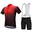 cheap Cycling Jersey & Shorts / Pants Sets-FUALRNY® Men's Short Sleeve Cycling Jersey with Bib Shorts - Black / Red Bike Clothing Suit, Quick Dry, Sweat-wicking Polyester, Coolmax®, Silicon Gradient / Stretchy / Lycra