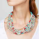 cheap Necklaces-Women's Statement Necklace / Strands Necklace - Bohemian, European, Fashion Red, Blue, Rainbow Necklace For Party, Special Occasion, Daily