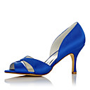 cheap Wedding Shoes-Women's Shoes Satin Summer / Fall Comfort Sandals Stiletto Heel Open Toe Blue / Wedding / Party & Evening