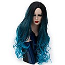 cheap Synthetic Capless Wigs-Synthetic Wig Natural Wave Synthetic Hair Ombre Hair Blue Wig Women's Long Capless