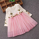 cheap Girls' Dresses-Girl's Birthday Daily Holiday Solid Floral Dress, Cotton Polyester Spring Fall Long Sleeves Floral Bow Lace Green Blushing Pink