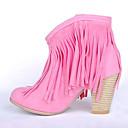 baratos Botas Femininas-Mulheres Sapatos Couro Ecológico Outono Inverno Conforto Botas Salto Plataforma Ponta Redonda para Casual Marron Vermelho Rosa claro