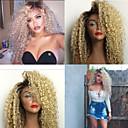 olcso Egy csomag hajat-Emberi haj Tüll homlokrész Csipke eleje Paróka Kinky Curly Paróka 130% Haj denzitás Ombre haj Természetes hajszálvonal Afro-amerikai paróka Női Rövid Közepes Hosszú Emberi hajból készült parókák