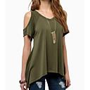 billige Tasker med hank-V-hals Dame - Ensfarvet Bomuld I-byen-tøj T-shirt Army Grøn XXXL / Udskæring