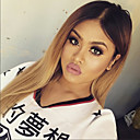 cheap Synthetic Capless Wigs-Human Hair Glueless Lace Front / Lace Front Wig Straight Wig 130% Ombre Hair / Natural Hairline / African American Wig Women's Short / Medium Length / Long Human Hair Lace Wig / 100% Hand Tied