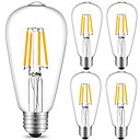 cheap LED Filament Bulbs-5pcs 4 W 360 lm E26 / E27 LED Filament Bulbs ST64 4 LED Beads COB Decorative Warm White / Cold White 220-240 V / 5 pcs / RoHS