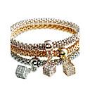 baratos Braceletes-Mulheres Diamante sintético Bracelete - Strass Luxo, Natureza, Punk Pulseiras Dourado Para Natal / Escola / Feriado