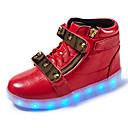 preiswerte Mädchenschuhe-Jungen Schuhe Leder Frühling Komfort / Leuchtende LED-Schuhe Sneakers Walking Klett / LED für Weiß / Schwarz / Rot