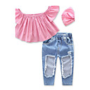 tanie Zestawy ubrań dla dziewczynek-Brzdąc Dla dziewczynek Słodkie Solidne kolory Otwór Krótki rękaw Bawełna Komplet odzieży