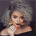 halpa Muotirannekorut-Synteettiset peruukit Kihara Tyyli Suojuksettomat Peruukki Harmaa Musta / Harmaa Synteettiset hiukset Naisten Liukuvärjätyt hiukset Harmaa Peruukki Keskikokoinen Luonnollinen peruukki