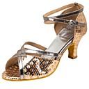 cheap Christmas Party Supplies-Women's Latin Shoes Paillette / Leatherette Sandal / Heel Buckle / Paillette Customized Heel Customizable Dance Shoes Gold / Professional