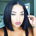 お買い得  人工毛ウィッグ-人工毛ウィッグ ストレート ブラック ブラック 合成 女性用 ブラック かつら ミディアム キャップレス MAYSU