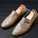 cheap Men's Slip-ons & Loafers-Men's Moccasin Glitter Summer / Fall British Loafers & Slip-Ons Gold / Black / Silver / Sparkling Glitter / Wedding / Party & Evening