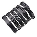 cheap Men's Bracelets-Men's Layered Braided Leather Bracelet - Leather Punk, Rock Bracelet Black For Stage Going out