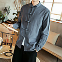 baratos Acessórios para PS4-Homens Tamanhos Grandes Camisa Social Temática Asiática Sólido Algodão Colarinho Clerical Delgado