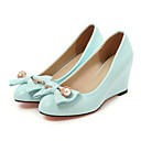 cheap Women's Heels-Women's Shoes PU Spring / Fall Comfort / Novelty Heels Wedge Heel Pointed Toe Bowknot / Rivet Beige / Blue / Pink / Wedding