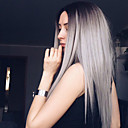 cheap Synthetic Capless Wigs-Synthetic Wig Straight Synthetic Hair Ombre Hair / Dark Roots / Middle Part Gray Wig Women's Long Capless