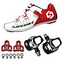 cheap Cycling Jerseys-SIDEBIKE Adults' Cycling Shoes With Pedals & Cleats / Road Bike Shoes Carbon Fiber Cushioning Cycling Red and White Men's