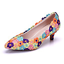cheap Wedding Shoes-Women's Shoes PU(Polyurethane) Spring / Fall Comfort / Novelty Wedding Shoes Low Heel Pointed Toe Appliques / Flower Purple