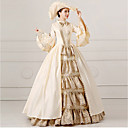 cheap Modules-Princess Rococo Costume Women's Masquerade Party Costume Beige Vintage Cosplay Lace Satin Long Sleeves Bell Floor Length