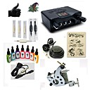 cheap Starter Tattoo Kits-BaseKey Tattoo Machine Starter Kit - 1 pcs Tattoo Machines with 7 x 15 ml tattoo inks, Professional Alloy LED power supply Case Not Included 20 W 1 steel machine liner & shader