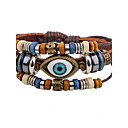 cheap Men's Bracelets-Men's Strand Bracelet Leather Bracelet - Leather Evil Eye Personalized, Hip-Hop Bracelet Jewelry Brown For Casual Stage