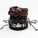 cheap Men's Bracelets-Men's Wrap Bracelet Leather Bracelet - Leather Rock Bracelet Black For Stage Club