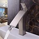 hesapli Banyo Lavabosu Muslukları-Çağdaş Bateria nablatowa Şelale Seramik Vana Tek Kolu Bir Delik Fırçalanmış Nikel, Banyo Lavabo Bataryası