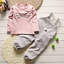 cheap Girls' Clothing Sets-Girls' Solid Colored Other Clothing Set, Cotton Spring Fall Long Sleeves Cartoon Green Blushing Pink Gray