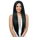 olcso Emberi hajból készült parókák-Szűz haj Csipke korona, szőtt / Tüll homlokrész / Csipke Paróka Brazil haj Yaki Straight Paróka 130% / 150% / 180% Baba hajjal / Természetes hajszálvonal / 100% Szűz Női Hosszú Emberi hajból készült