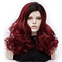 cheap Synthetic Capless Wigs-Synthetic Wig / Cosplay Wig Deep Wave Synthetic Hair Ombre Hair Red Wig Women's Medium Length Capless Dark Red