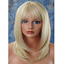 cheap Synthetic Capless Wigs-Synthetic Wig Straight Blonde Layered Haircut / With Bangs Synthetic Hair Natural Hairline Blonde Wig Women's Medium Length Capless Light Blonde
