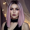 cheap Costume Wigs-Synthetic Lace Front Wig Straight Pink Synthetic Hair Middle Part Bob / Ombre Hair Pink Wig Women's Short Lace Front
