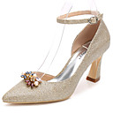 cheap Wedding Shoes-Women's Shoes Glitter Spring / Fall Basic Pump / Ankle Strap Wedding Shoes Chunky Heel Pointed Toe Rhinestone / Crystal Gold / Silver
